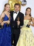 Alicia Vikander, Brie Larson och Leonardo DiCaprio Royaltyfri Fotografi