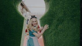 Alicia y el sombrerero de Alicia en mirada del país de las maravillas en la cámara directamente en la audiencia y después corrida metrajes