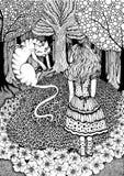 Alicia y gato de Cheshire Imagen de archivo