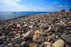 Alicudi seashore rocks Stock Photos