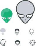 alien вектор установленный шаржами Стоковое Изображение