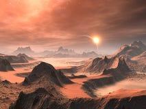 alien восход солнца пустыни иллюстрация вектора