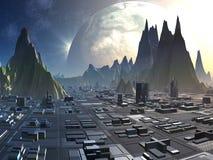 alien горизонт города иллюстрация вектора