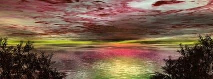 alien заход солнца неба места Стоковые Фото