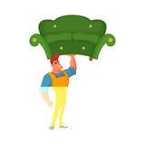 alien кот шаржа избегает вектор крыши иллюстрации Затяжелитель держа в одной руке софу Характер дизайна концепции работник достав Стоковое Изображение RF