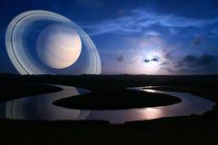alien мир захода солнца Стоковое фото RF