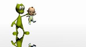 alien шарж младенца Стоковая Фотография