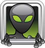 Alien. From outer space looking through a window Royalty Free Stock Photo