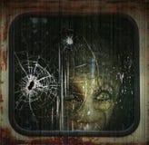 Alien. Digital Illustration of an alien looking through a train window Royalty Free Stock Photography