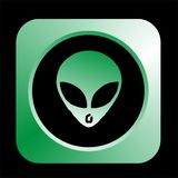 Alien. Sign illustration with green framed Stock Images