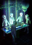 Alien abduction. A grpup of aliens abduct a man in 3d Royalty Free Stock Image