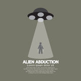 Alien Abduction With UFO Spaceship. Vector Illustration Stock Illustration