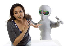 Alien Abduction. Young woman is the victim of an alien abduction Stock Images
