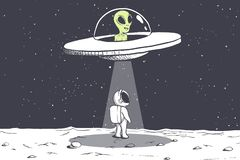 An alien abducts an astronaut Royalty Free Stock Photo