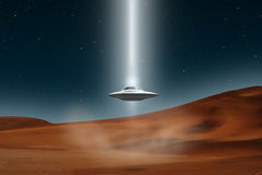 Alien aircraft ufo landing desert Stock Photo
