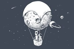 Free Alien And Astronaut Travels By On Aerostat Royalty Free Stock Photo - 132293165