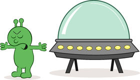 Alien Angry With Spaceship. Cartoon alien furious with spaceship Royalty Free Stock Image
