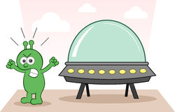 Alien Angry With Spaceship. Cartoon alien angry and shouting with spaceship Stock Image