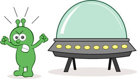 Alien Angry With Spaceship. Cartoon alien angry and shouting with spaceship Stock Images
