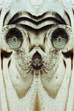 The alien or animal face in the wooden board Royalty Free Stock Images