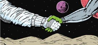 Alien Astronaut Handshake Royalty Free Stock Image