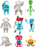 Alien and astronaut icons Royalty Free Stock Photo