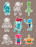 Alien and astronaut stickers. Cute cartoon vector illusttration Royalty Free Stock Image