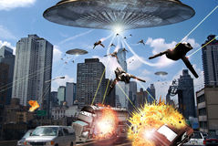 Alien attack. View from the interior of a car. In the street in front of us, several alien fighters, coming from a giant flying saucer, attack the city shooting Stock Images