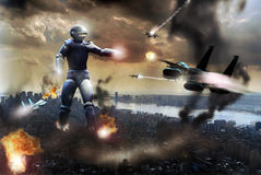 Alien attack. A giant alien robot attacks manhattan. Several F15 fighters attack it, defending the city Stock Photos