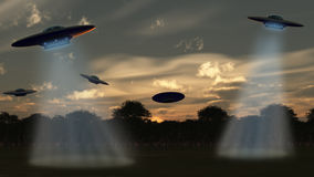 Alien attack. UFO over forest, the sunset sky. 3D rendering Royalty Free Stock Images