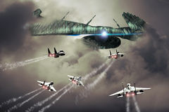 Alien attack. Big strange alien spaceship is approached by several F15 fighters Royalty Free Stock Images