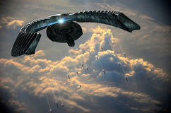 Alien attack. Strange big alien spaceship  launching shuttles to the Earth Stock Photography