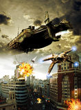 Alien attack. View of a city street, where several alien fighters, coming from a giant spacescraft, attack the city shooting against cars and edifices Stock Images