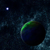 Extrasolar Exoplanet. Imaginary Extrasolar Exoplanet in the far Universe Stock Photo