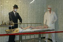 Alien autopsy museum display Royalty Free Stock Photos