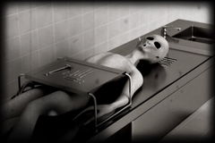 Alien autopsy very old film version Royalty Free Stock Photos