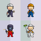 Alien baby building trades. Icons of building trades characters. Engineer, builder, welder, decorator Stock Photo