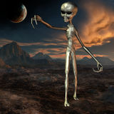 Alien with Background. 3D Render of an Alien with Background Stock Photos