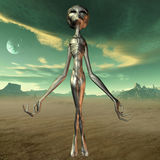 Alien with Background. 3D Render of an Alien with Background Royalty Free Stock Images