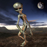 Alien with Background. 3D Render of an Alien with Background Stock Images