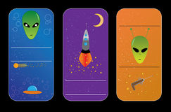 Alien banners. Color banners or alien flayers from party Vector Illustration