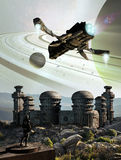 Alien base. Close to a planet with rings. A shuttle arrives, under the attentive glance of a soldier who watches Stock Photo