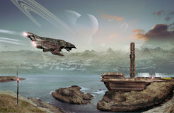 Alien base. Stealth spaceship arriving to an alien spacebase, on a planet with life Royalty Free Stock Photos
