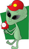 Alien Baseball. A green alien playing baseball Royalty Free Stock Photos