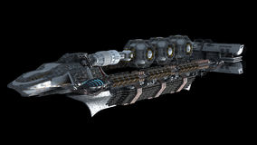 Alien battleship in deep space travel Royalty Free Stock Images