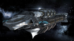 Alien battleship in deep space travel. Alien mothership in deep space, for futuristic, fantasy or interstellar travel backgrounds, rendered on a galactic Stock Image