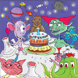 Alien birthday party. All sorts of funny alien creatures standing on a barren landscape  have gathered around a cake to celebrate the birthday of the viewer Royalty Free Stock Photography