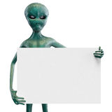 Alien with the blank. White background Royalty Free Stock Photo