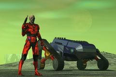 Alien bounty hunter. Alien figure in red metallic body armor holding raygun stand near tracked vehicle and surveys desolate landscape under green sky Royalty Free Stock Photos