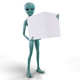 Alien with the box. On the white background Stock Photo